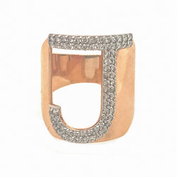 White Diamond J Ring