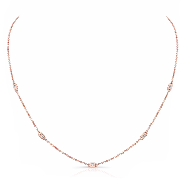 5 BEZEL BAGUETTE DIAMOND STATION NECKLACE
