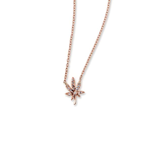 Pave Mini Sweet Leaf Necklace