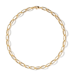 18K YELLOW GOLD 24'' LONG OVAL CHAIN NECKLACE