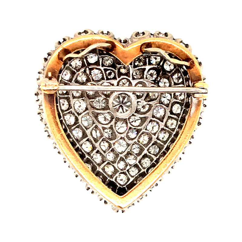 ANTIQUE DIAMOND HEART BROOCH