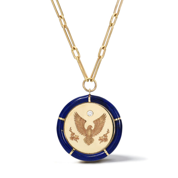 "HONOR PENDANT ON 18"" HANDMADE CHAIN -  LAPIS"