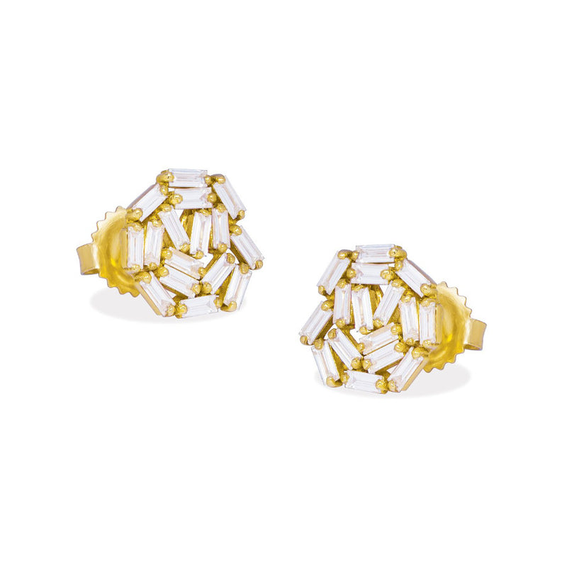 18K YELLOW GOLD FIREWORKS CIRCLE STUD EARRING