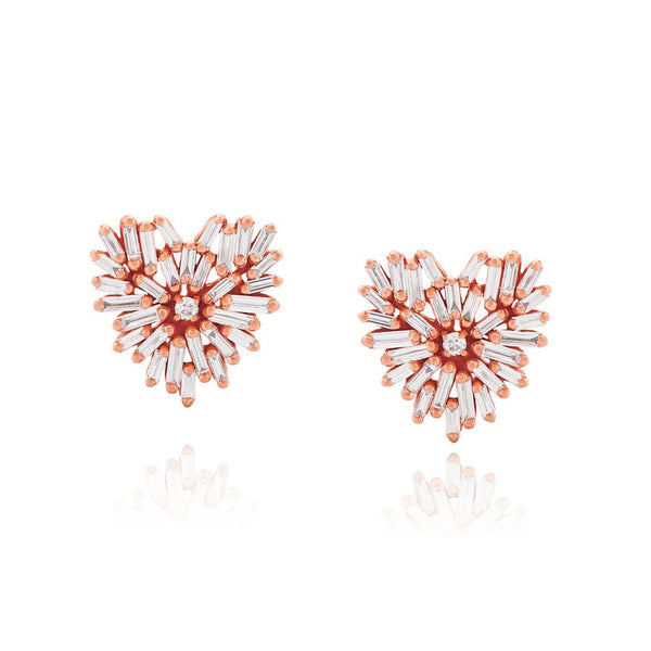 18K ROSE GOLD SMALL HEART STUD EARRINGS
