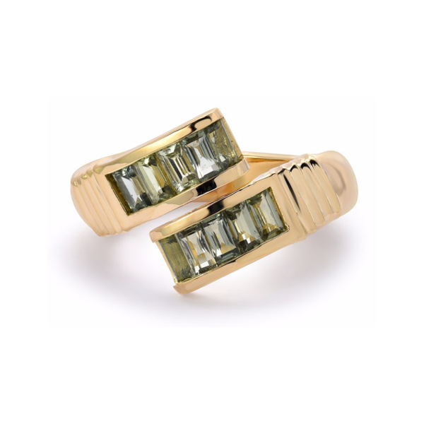 BAGUETTE WRAP RING - GREEN SAPPHIRE