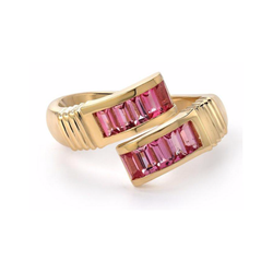 BAGUETTE WRAP RING - PINK SPINEL