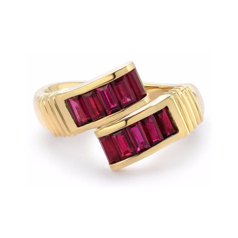 BAGUETTE WRAP RING - RUBY