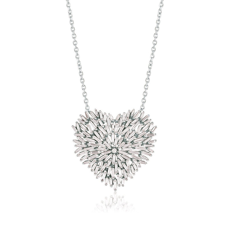18K WHITE GOLD FIREWORKS LARGE HEART PENDANT