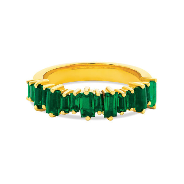 18K YELLOW GOLD EMERALD BAGUETTE HALF BAND
