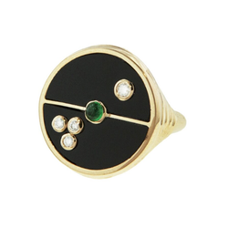 COMPASS RING - BLACK ONYX WITH EMERALD