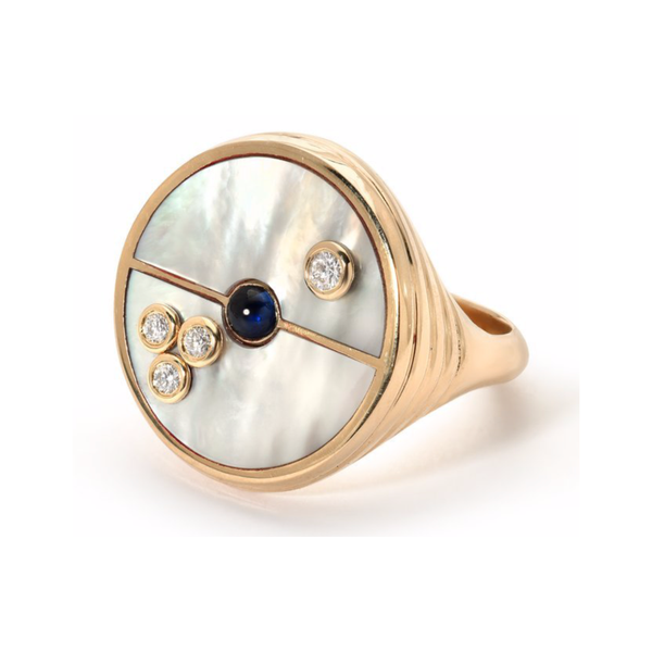 COMPASS RING - MOTHER OF PEARL WITH SAPPHIRE