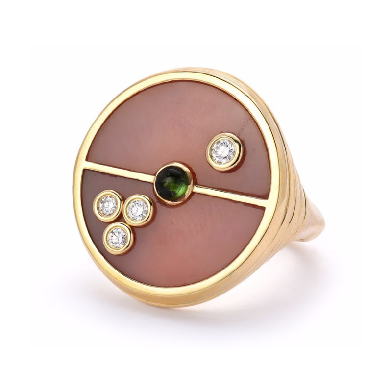 COMPASS RING - PINK OPAL WITH GREEN TOURMALINE
