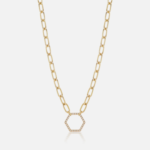 THICK HEXAGON FOUNDATION NECKLACE 32""