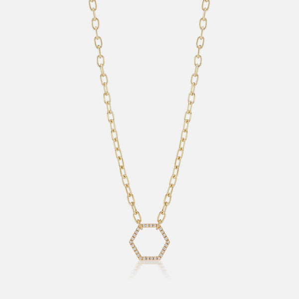 THIN HEXAGON FOUNDATION NECKLACE 18""