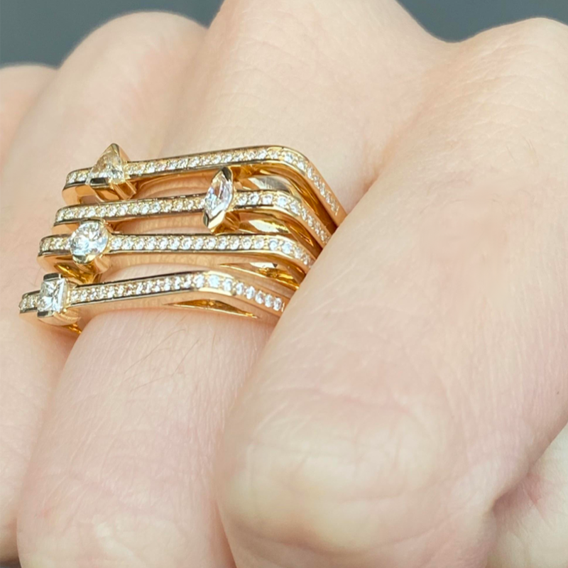 STACKABLE PAVE RING WITH DIAMOND MARQUISE