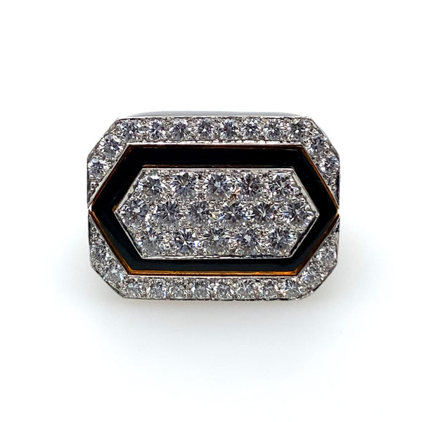 DAVID WEBB BLACK AND GOLD DIAMOND RING