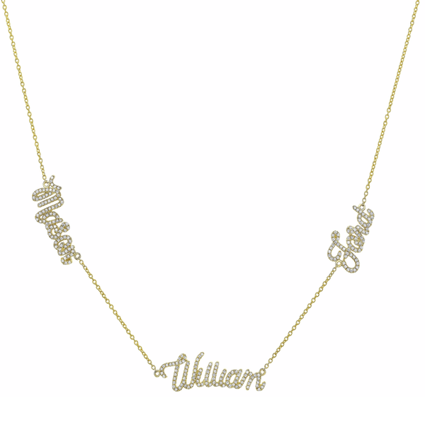 DIAMOND TRIPLE SCRIPT NAME NECKLACE