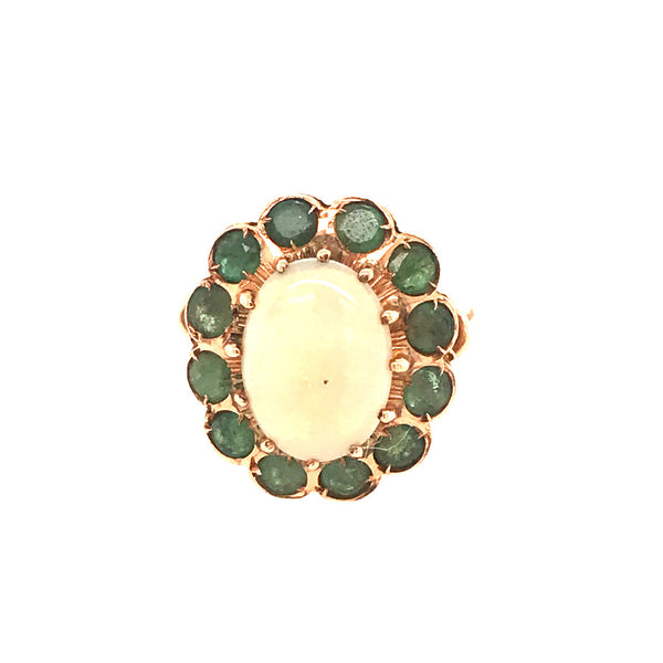 VINTAGE EMERALD AND OPAL RING