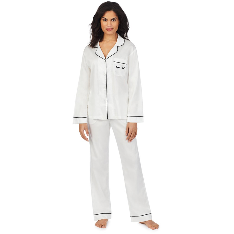 Ivory Long Sleeve Classic PJ Set - Eyelash Embroidery