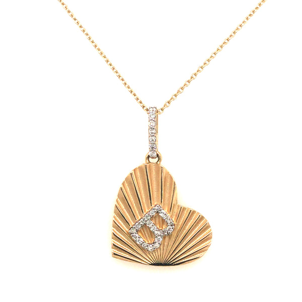 FLUTED HEART PENDANT WITH DIAMOND INITIAL