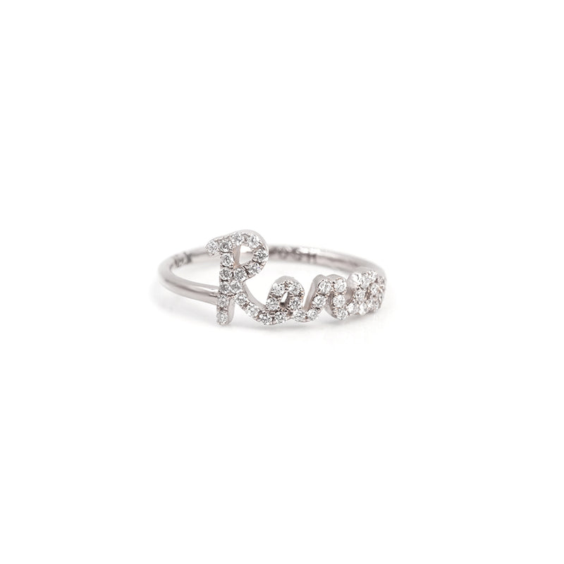 Call My Name Pave Script Ring