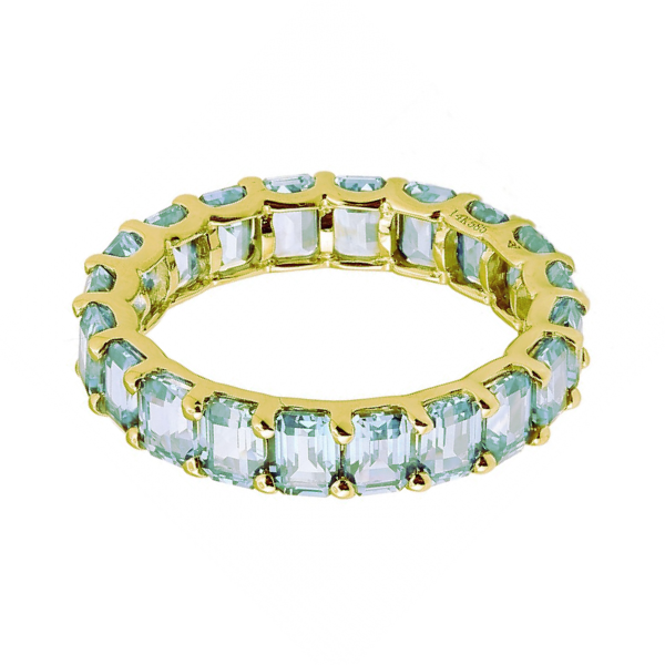 FULL ETERNITY EMERALD CUT BAND - GREEN TOPAZ