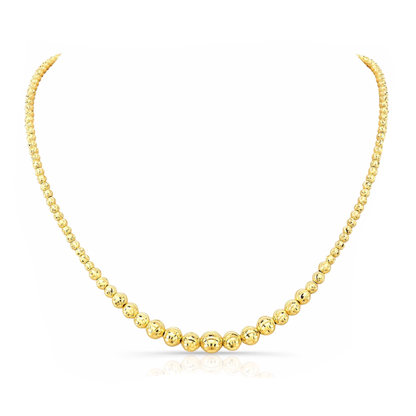 GRADUATED DIAMOND CUT BEAD NECKLACE