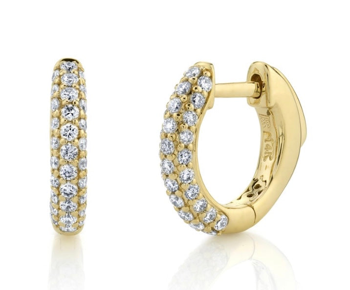 14K GOLD PAVE DIAMOND HUGGIE HOOPS WITH SECURITY LATCH