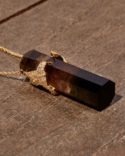 Small Dark Tourmaline with Diamond Humming Bird
