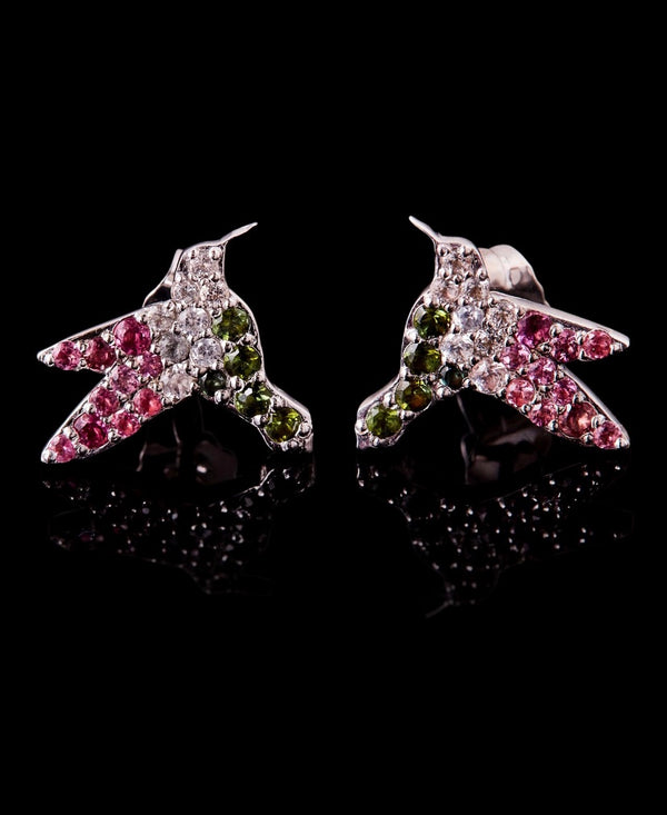 White Gold and Multi Colored Tourmaline Humming Bird Studs