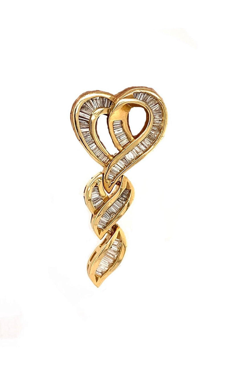 Vintage Heart Earrings with Baguette Diamonds
