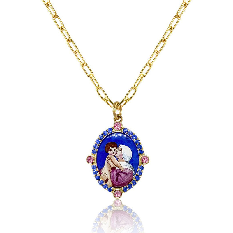 OUR LADY OF GOOD ADVICE NECKLACE WITH BLUE SAPPHIRES
