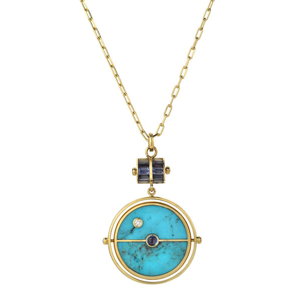 Grandfather Turquoise Compass Pendant