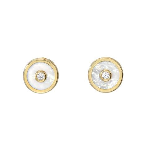 MINI COMPASS STUD EARRINGS - MOTHER OF PEARL