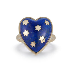 14K Gold Lapis Anna Heart Ring