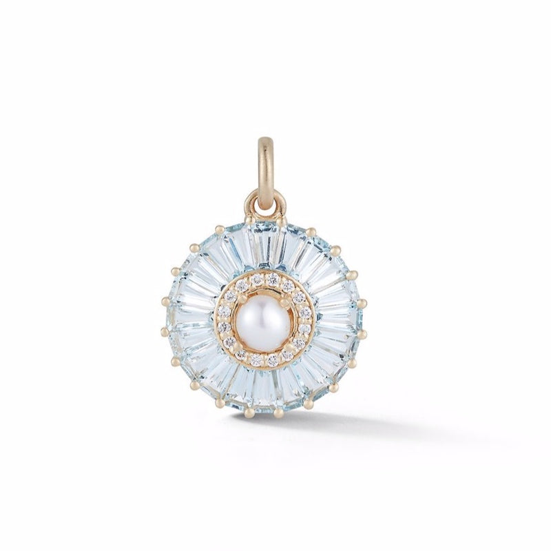 14K Gold Aquamarine Diamond & Pearl Emily Charm
