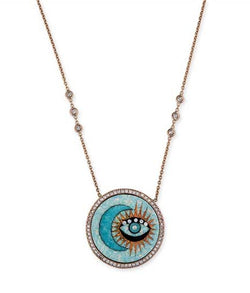 Moon and Eye Opal Inlay Necklace