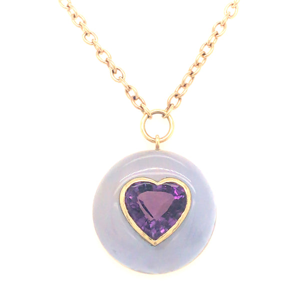 LOLLIPOP NECKLACE - HEART AMETHYST IN CHALCEDONY