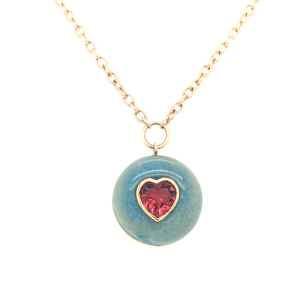 LOLLIPOP NECKLACE - PINK TOURMALINE HEART IN TROLLEITE