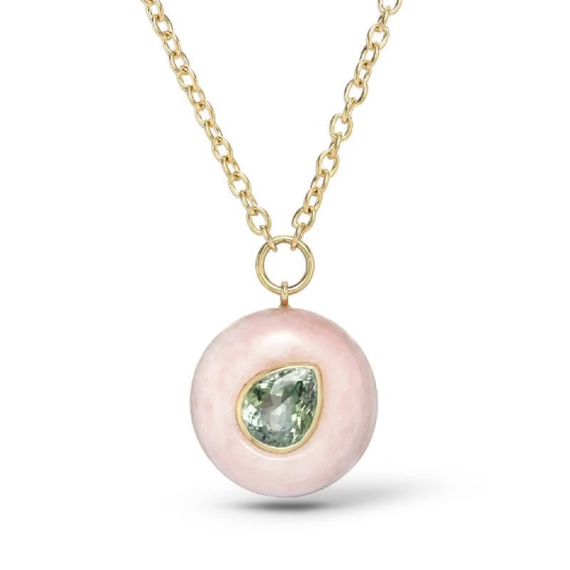 LOLLIPOP PENDANT - GREEN TOURMALINE IN PINK OPAL