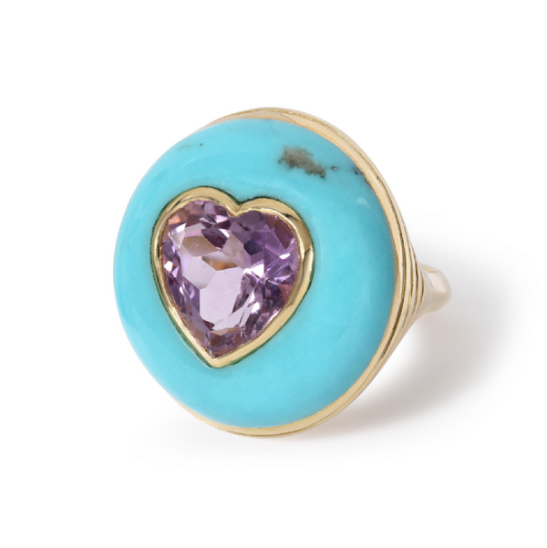 LOLLIPOP RING - AMETHYST IN TURQUOISE