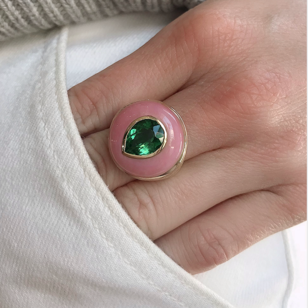 SMALL LOLLIPOP - GREEN TOURMALINE IN PINK OPAL