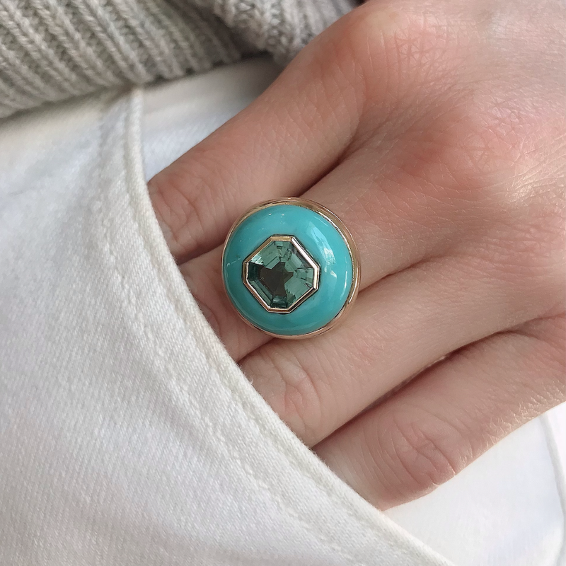SMALL LOLLIPOP RING - MINT GREEN TOURMALINE WITH TURQUOISE