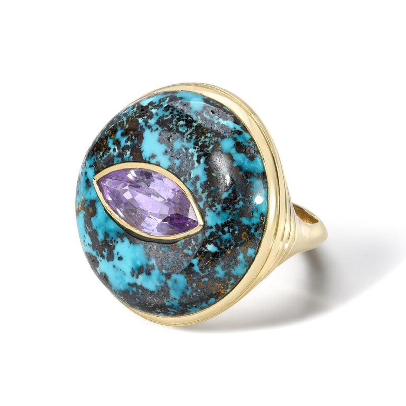 LOLLIPOP RING - MARQUISE PURPLE SAPPHIRE IN TURQUOISE