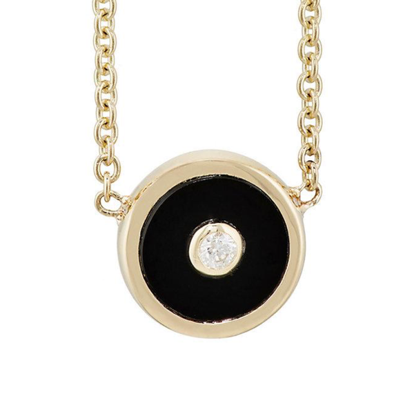 MINI COMPASS PENDANT - BLACK ONYX WITH DIAMOND