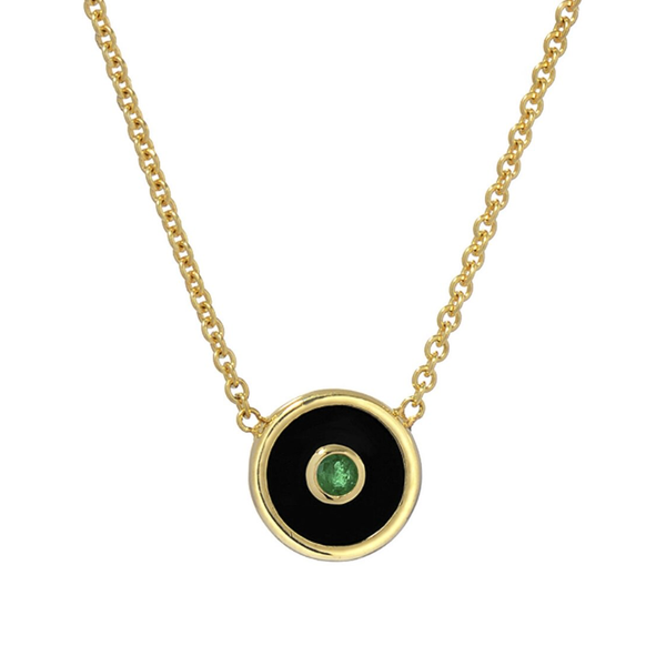 MINI COMPASS PENDANT - BLACK ONYX WITH EMERALD