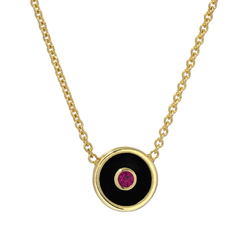 MINI COMPASS PENDANT - BLACK ONYX WITH RUBY