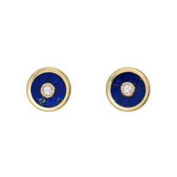 MINI COMPASS STUD EARRINGS - LAPIS