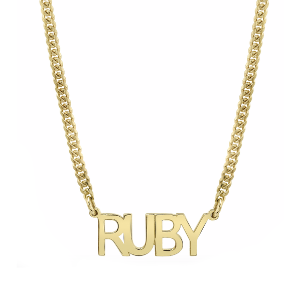 MINI CUBAN LINK PERSONALIZED BLOCK NAMEPLATE NECKLACE