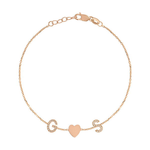 Mini Pave Letter and Heart Bracelet